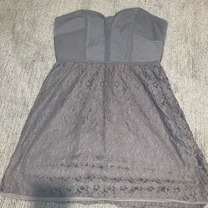 American Eagle gray strapless lace & quilted dress